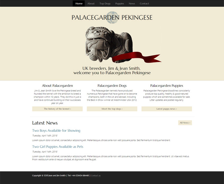 Palacegarden Pekingese responsive home page